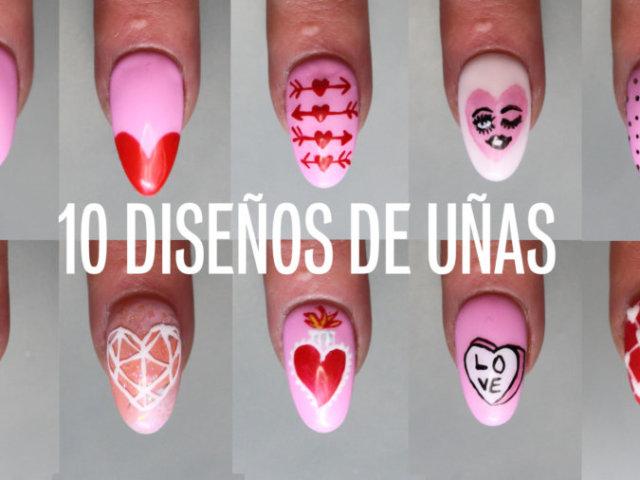 10 uñas de san valentín