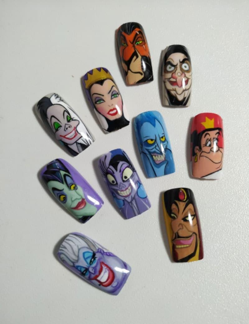 Curso de uñas princesas y villanos disney